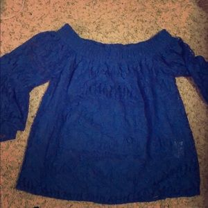 Lilly Pulitzer Off shoulder blue lace top